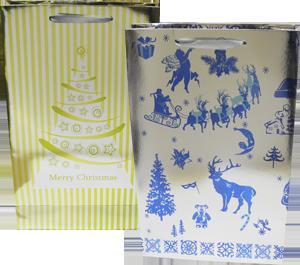 Новорічний подарунковий картонний пакет