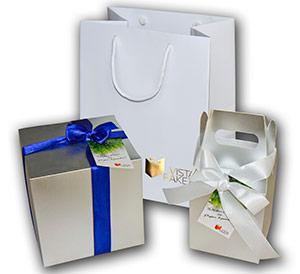 Бумажный пакет+коробка+лента+бирка